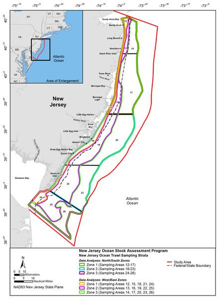 Study Area; New Jersey Ocean Stock Assessment Program.