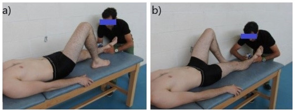 Assessment of the isometric hip strength: (A) testing for hip maximal isometric abduction strength; (B) testing for hip maximal isometric adduction strength.