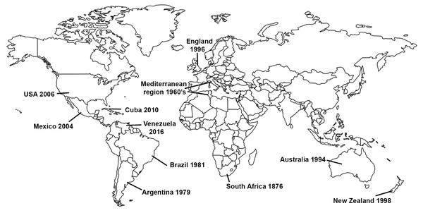 Invasion history of the Gladiolus rust fungus, Uromyces transversalis.