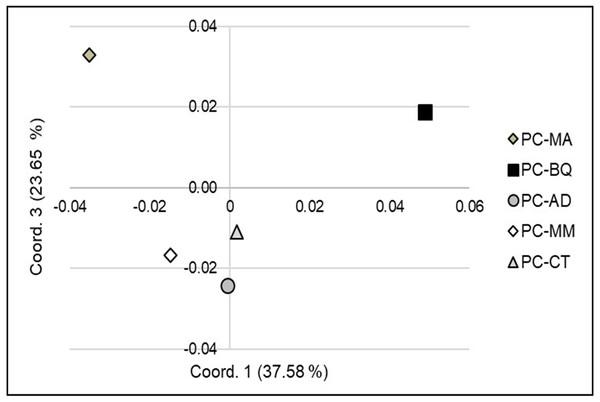 Principal Coordinates Analysis (PCoA) (coordinate 1 vs. 3) showing the genetic separation between the five Pinus cembroides seed stands: Mesa Azul (PC-MA): grey diamond, Baquiriachi (PC-BQ): black square, Los Adobe (PC-AD): grey circle, Mesa de la Majada (PC-MM): white diamond and Cordón del Toro (PC-CT): grey triangle.