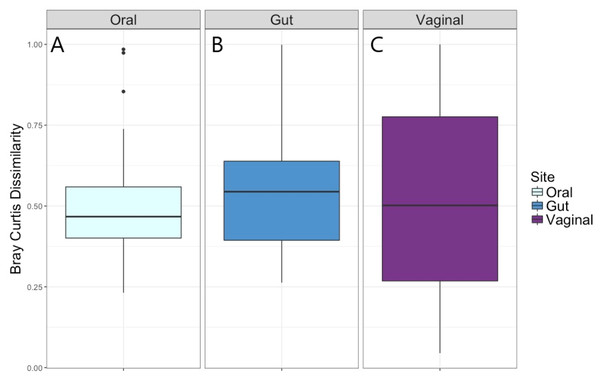 Bray–Curtis dissimilarity measure for Visit 1 and Visit 2 by body site.