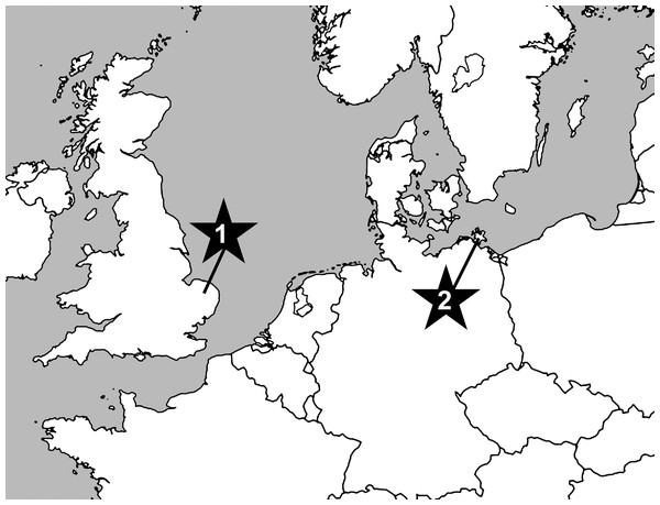 Map showing position of sampled localities at Cringleford near Norwich, Norfolk, United Kingdom (1) and the Isle of Rügen, northeast Germany (2).