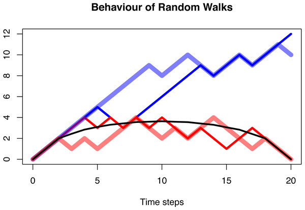 The behaviour of a random walk conditioned to be positive (blue), conditioned to be positive and go extinct after n = 20 time steps (red), and the average over multiple trajectories conditioned to be positive and go extinct (black).