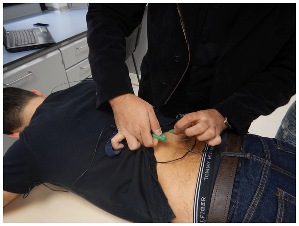 Electrode placement for Lumbar Erector Spinae.
