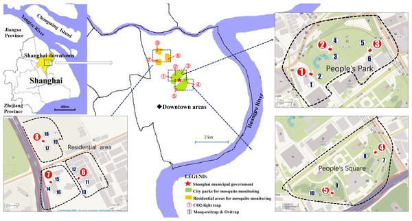 Trap locations for mosquito monitoring comparisons of MOT, OT and CLT.