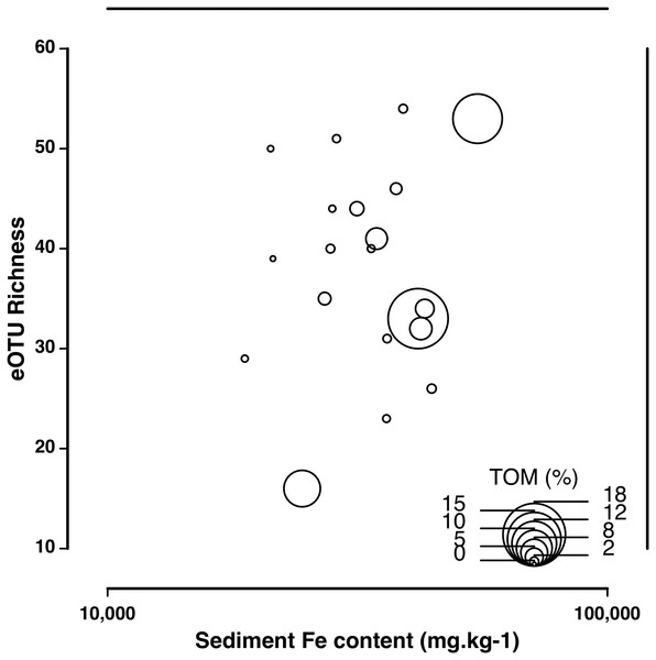 Correlation of eOTU richness with sediment Fe and TOM content.