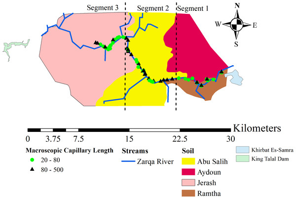The locations of the measurement sites and the soil units encountered around the Zarqa River.