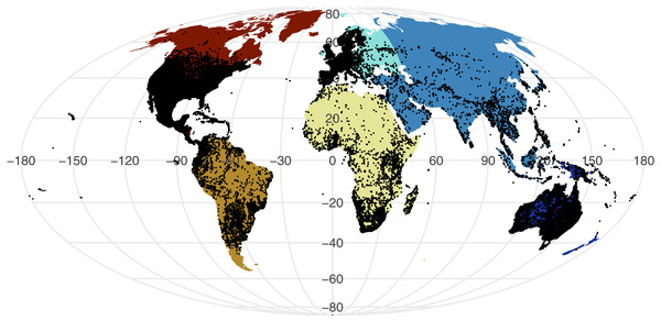 Global distribution of all GBIF non-marine snake records displayed against continental divisions.