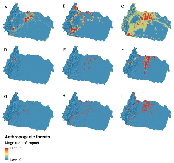Anthropogenic threat maps for freshwater ecosystems in the upper Napo river basin.