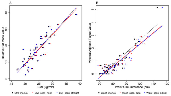 Associations between BMI and relative fat mass, and between WC and visceral fat mass.