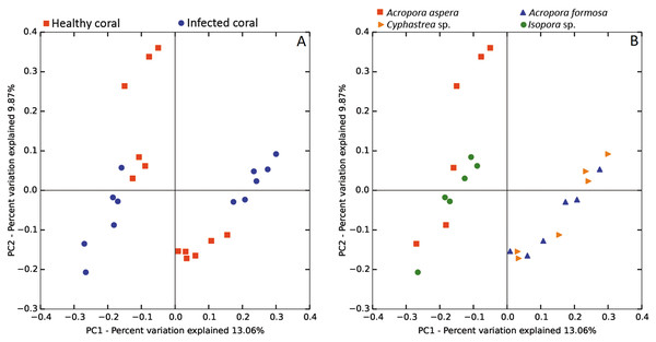 Weighted UniFrac PCoA plot showing the differences between bacterial communities based on (A) the coral health status and (B) coral species.