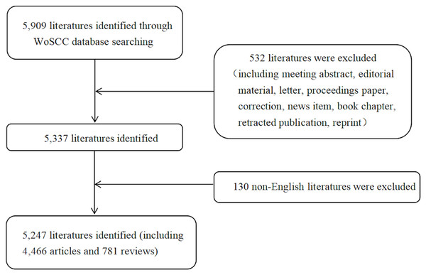 Flow chart of literature filtering included in this study.