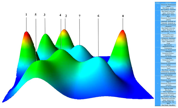 Mountain visualization of biclustering of highly frequent major MeSH terms and articles on postmenopausal osteoporosis.