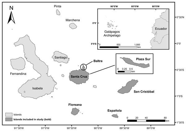 Map of the Galápagos Islands, Ecuador.