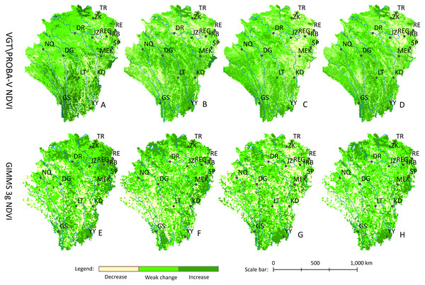 Spatial distribution of the vegetation dynamics from 1999 to 2015.