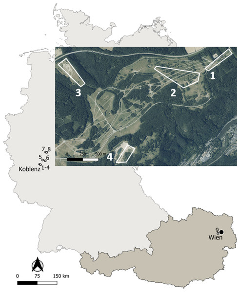 Map of the study sites in Germany and Austria.