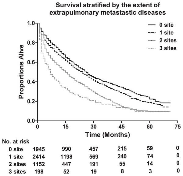 The overall survival stratified by the extent of extrapulmonary metastatic disease, and the table showing the number at risk according to number of metastasis sites.