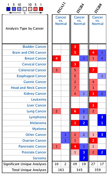 The transcription levels of ITGA11, ITGB4 and ITGB8 in different cancers compared with normal tissues in the ONCOMINE dabase.