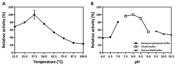Effects of temperature (A) and pH (B) on S. mutans MurI activity.