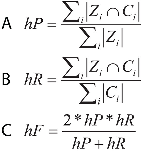 Equations for hierarchical metrics. Zi and Ci correspond, respectively, to the set of true and predicted classes for an instance i.