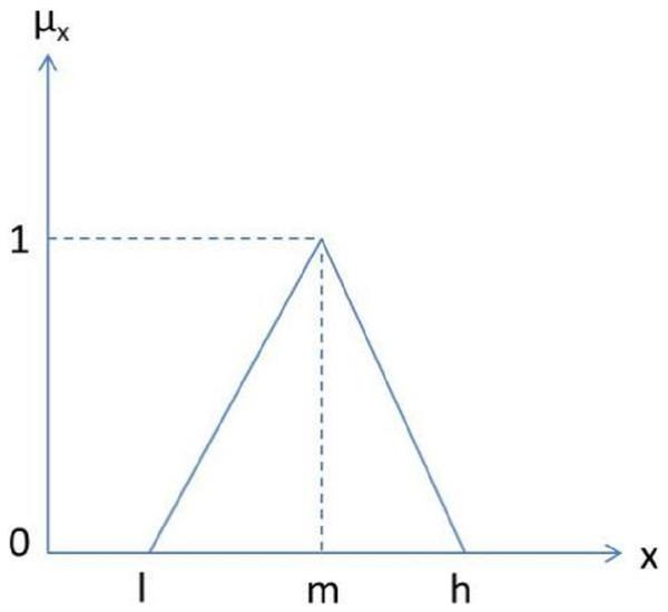 Triangular fuzzy number.