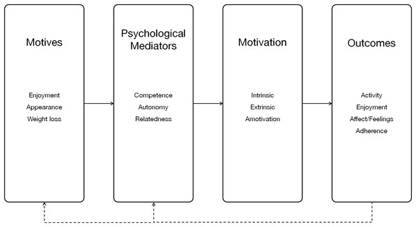 Relationship between SDT mediators, motivation, outcomes, and motives (Boulos & Yang, 2013).