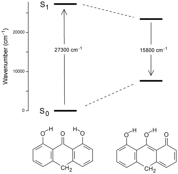 Predicted vertical excitation and emission wavenumbers for anthralin (A).