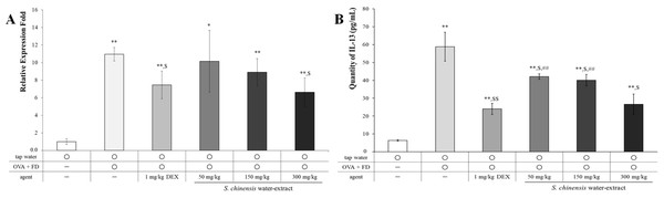 Saururus chinensis (SC) water-extract dose-dependently inhibited mRNA level (A) and the protein level (B) of IL-13 in lung lysates.