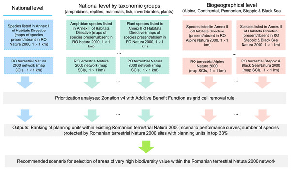 Flowchart illustrating the spatial prioritization process (national, taxa-specific and biogeographical levels spatial prioritization scenarios).