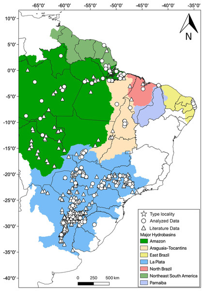 Geographic distribution of Hydrodynastes gigas in South America.