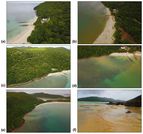 Land-based source of pollution to Flamenco Bay from deforested hillsides and unpaved roads responding to unsustainable land use practices in 2017.