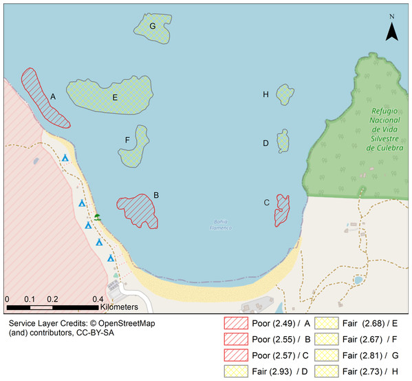 Localities shaped according to a continuous geomorphic structure of aggregate reef and classified according to the Coral Reef Resilience Index (CRRI).