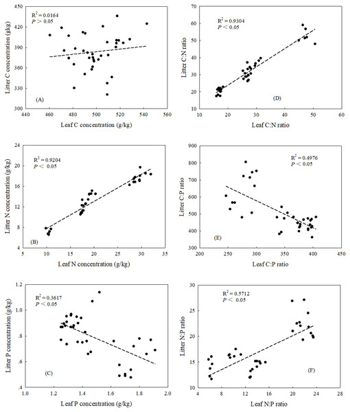 Relationships between leaf and litter C: N: P stoichiometric characteristics.