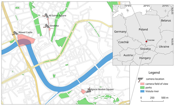 Location in Cracow (Poland) and approximate field of view for webcams used in these studies (www.webcamera.pl).