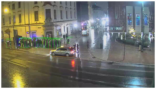 Sample image from the All Saints' Square webcam at midnight, with pedestrians and cars detected by YOLO.