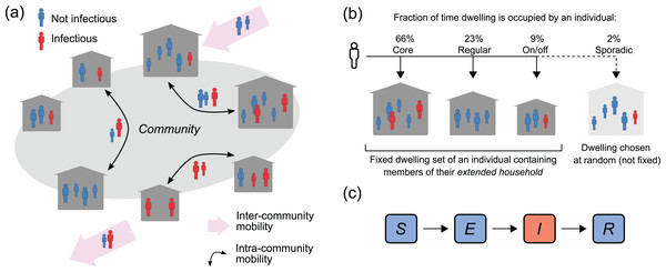 Population, mobility and infection model.