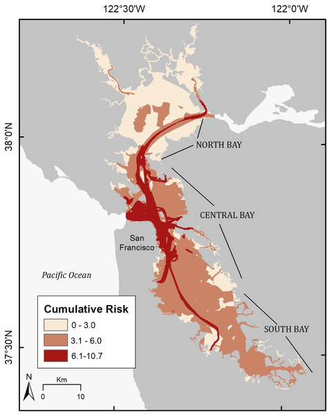 Cumulative risk map of anthropogenic risk distribution across the study area.