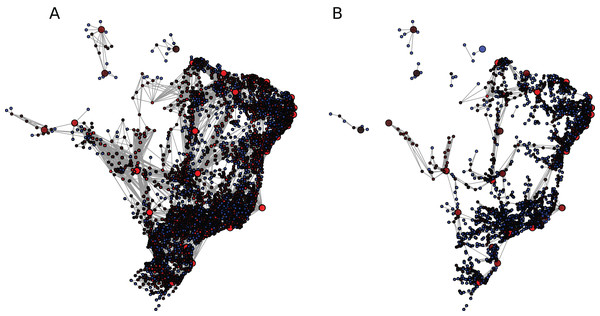 Brazilian mobility network (BR) under (A) η1 and (B) η2.