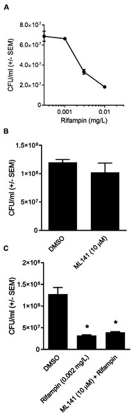 Rifampin bactericidal activity is not enhanced by ML141.
