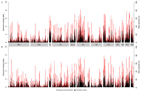 H5N1 entropy and incidence of total variants for each aligned nonamer positions of H5N1 avian (A) and human (B) viral sequences.