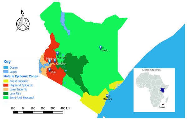 Map of Kenya showing the different malaria endemicity zones and locations of various surveillance hospitals.