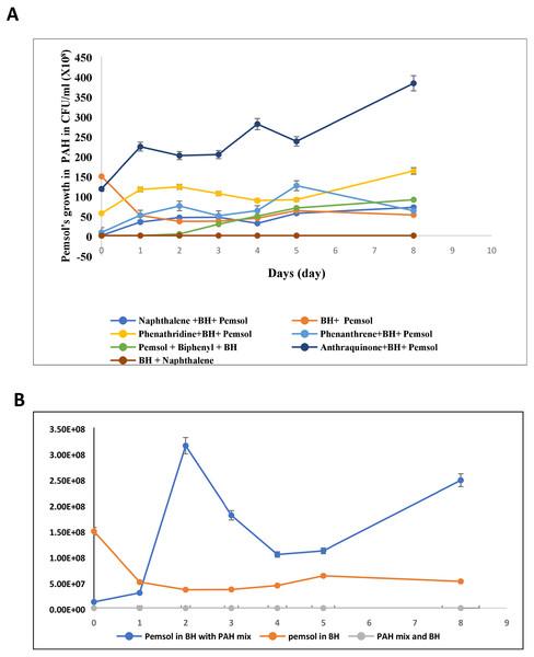 The growth of Stenotrophomonas sp. Pemsol using different PAHs as unique carbon source.