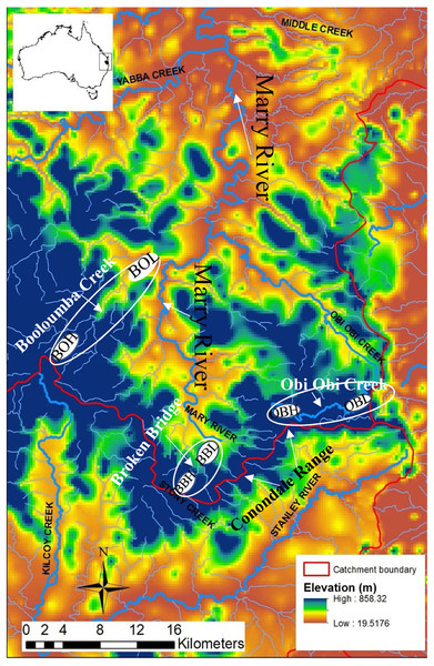 Map of the Conondale Range showing sampling sites.
