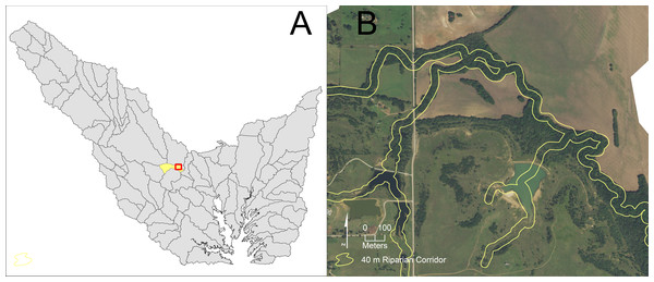 Visual examination of portions of a riparian corridor in a sub-watershed within the lowest riparian corridor restoration quartile.