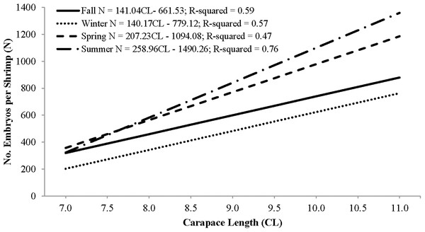 Seasonal regressions showing the relationships between the number of embryos per shrimp (i.e., fecundity) and carapace length.