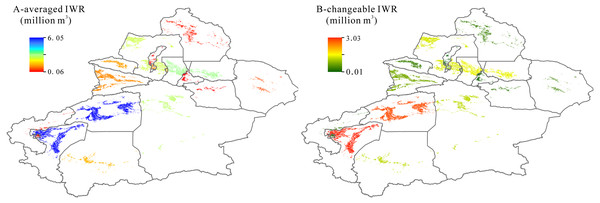Spatial distribution of averaged irrigation water requirement (IWR) (A) and their changes (B) in Xingjiang during 1995–2017.