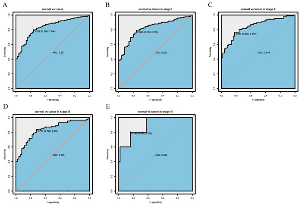 ROC analysis of the sensitivity and specificity of MEX3A to assess liver cancer.
