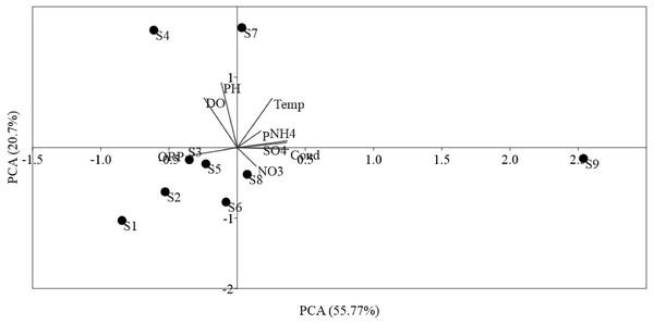 Ordination plots showing PCA of environmental variables in Luotian River, China.