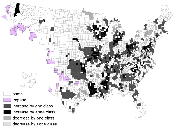 Change in deer density classes by county between 1982 and 2003, after exclusion of counties without a clear majority classes.