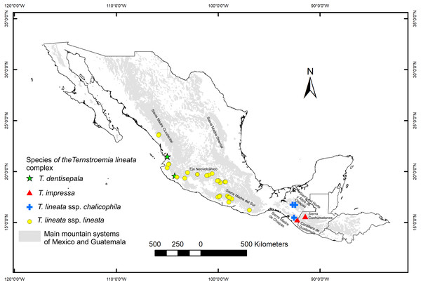Location of the sampled populations of the T. lineata complex.